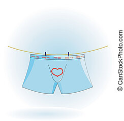Vector illustration of men's underwear on the rope