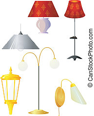 Collection of vector illustrations of lamps