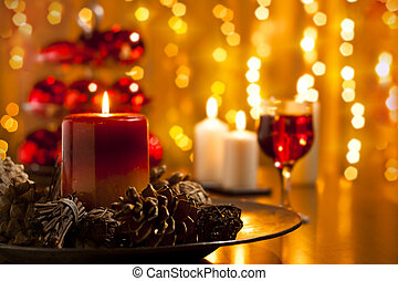 Christmas Table Setting - Christmas Decorations and Candles...