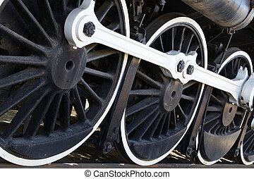 mur, blanc,  train, roues