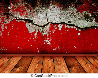 vintage interior with bright red cracked wall - similar...