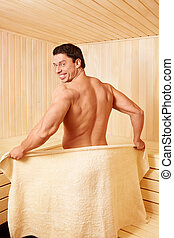 Mature man - Attractive man in the sauna