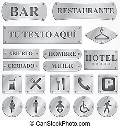 Vector silver plates and signboards