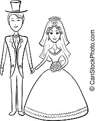 Bride and groom, contours - Cartoon, the bride and groom...