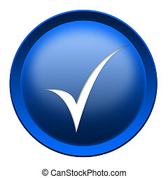 Tick button - Blue button with a tick isolated over white...