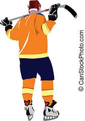 Ice hockey players. Vector illustr