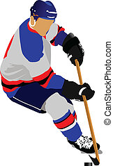 Ice hockey players. Colored Vector
