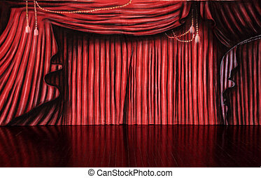 Red Curtain Background - Red muslin backdrop on polished...