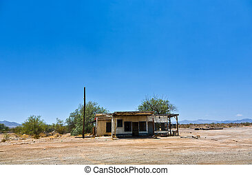 abandoned house at the route 95 near the small village of...
