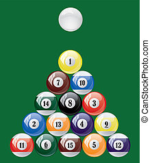 Vector set of glossy pool balls. Abstract billiard on green background.