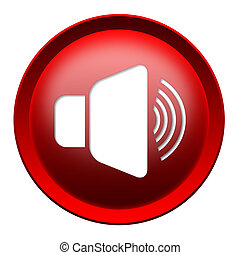 Loud speaker button isolated over white background