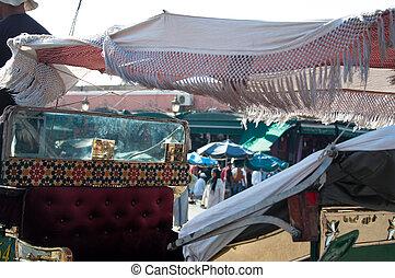 Marrakech - Horsedrawn Carriage - Marrakech, Morocco. Place...