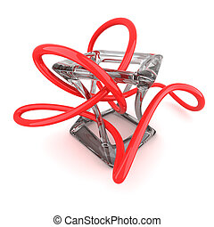 Deformation concept - Deformed cube and red wire isolated on...
