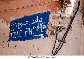Telephone Sign in Morocco - Handwritten sign for Telephone...