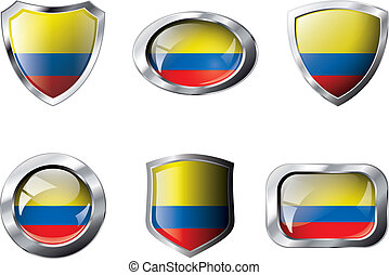 Columbia set shiny buttons and shields of flag with metal frame - vector illustration. Isolated abstract object against white background.
