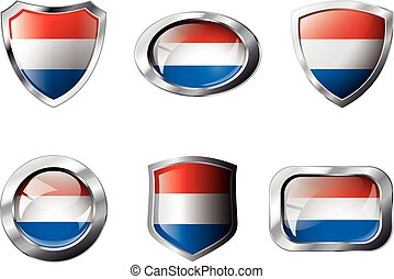 Netherlands set shiny buttons and shields of flag with metal frame - vector illustration. Isolated abstract object against white background.