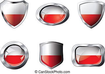Poland set shiny buttons and shields of flag with metal frame - vector illustration. Isolated abstract object against white background.