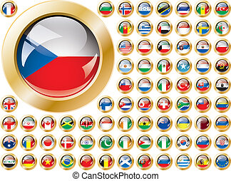 Shiny button flags with golden frame collection -  vector illustration. Isolated abstract object against white background.