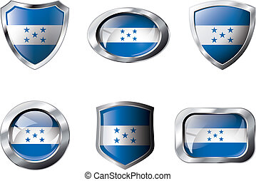 Honduras set shiny buttons and shields of flag with metal frame - vector illustration. Isolated abstract object against white background.