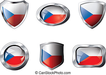 Czech set shiny buttons and shields of flag with metal frame - vector illustration. Isolated abstract object against white background.