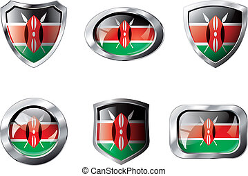 Kenya set shiny buttons and shields of flag with metal frame - vector illustration. Isolated abstract object against white background.