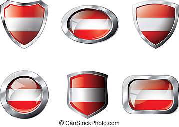 Austria set shiny buttons and shields of flag with metal frame - vector illustration. Isolated abstract object against white background.