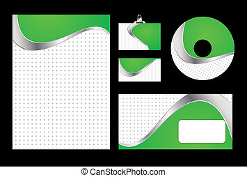 Vector illustration of green corporate identity. Letterhead, business card, compact disc and postcard with abstract green background.