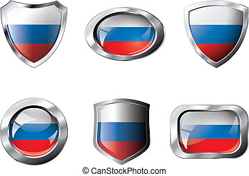 Russia set shiny buttons and shields of flag with metal frame - vector illustration. Isolated abstract object against white background.
