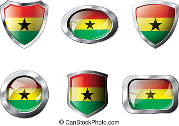 Ghana set shiny buttons and shields of flag with metal frame - vector illustration. Isolated abstract object against white background.