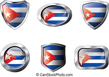 Cuba set shiny buttons and shields of flag with metal frame - vector illustration. Isolated abstract object against white background.