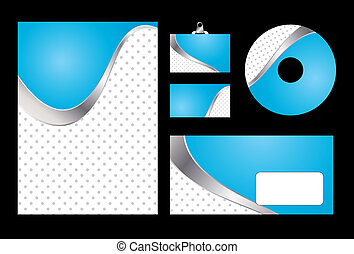 Vector illustration of blue corporate identity. Letterhead, business card, compact disc and postcard with abstract blue background.