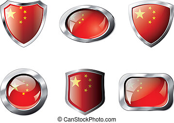 China set shiny buttons and shields of flag with metal frame - vector illustration. Isolated abstract object against white background.