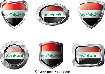 Iraq set shiny buttons and shields of flag with metal frame - vector illustration. Isolated abstract object against white background.