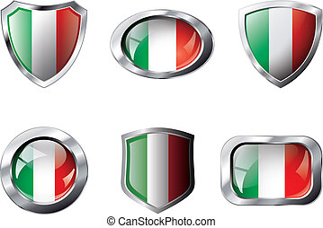 Italy set shiny buttons and shields of flag with metal frame - vector illustration. Isolated abstract object against white background.