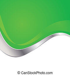 Vector illustration colorful abstract background. Trendy green wave with metal frame.