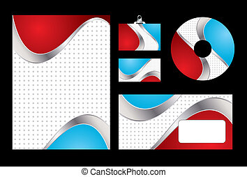 Vector illustration of red and blue corporate identity. Letterhead, business card, compact disc and postcard with abstract red and blue background.