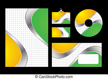 Vector illustration of green and yellow corporate identity. Letterhead, business card, compact disc and postcard with abstract green and yellow background.