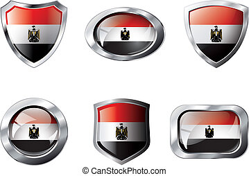 Egypt set shiny buttons and shields of flag with metal frame - vector illustration. Isolated abstract object against white background.