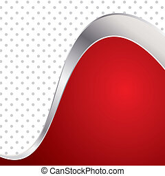 Vector illustration colorful abstract background. Trendy red wave with metal frame.