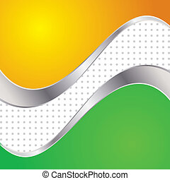 Vector illustration colorful abstract background. Trendy yellow and green wave with metal frame.