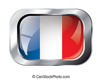 france shiny button flag vector illustration. Isolated abstract object against white background.