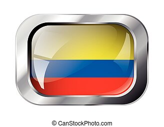 columbia shiny button flag vector illustration. Isolated abstract object against white background.