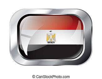 egypt shiny button flag vector illustration. Isolated abstract object against white background.
