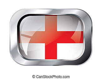 england shiny button flag vector illustration. Isolated abstract object against white background.