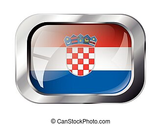 croatia shiny button flag vector illustration. Isolated abstract object against white background.