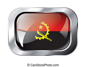 angola shiny button flag vector illustration. Isolated abstract object against white background.