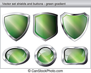 Vector illustration set. Shiny and glossy shield and button with green colors. Abstract objects isolated on white background.