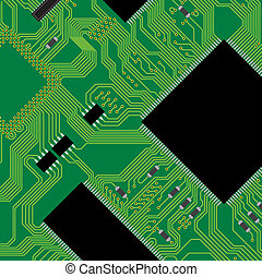 Green circuit board vector illustration. Abstract technology background - next science future.