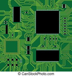 Green circuit board vector illustration Abstract technology...