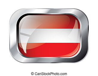 austria shiny button flag vector illustration. Isolated abstract object against white background.